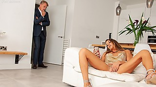Horny Swinger Wife Caught Masturbating By Her Husband Needs Some Good Dick