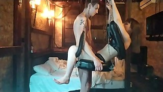 Russian wife was fucked on sex swing. Squirt and Pussy creampie.