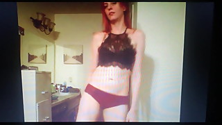 Redhead BJ sensual dance black lace halter and pink panties