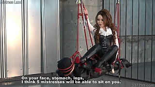 Japanese dominatrix Kira going on the human swing