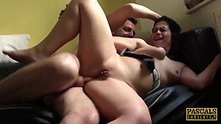 Subslut Montse Swinger gags on cock before rough anal fuck