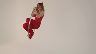 Fame Girls Foxy Pussy Play on a Giant Ring Swing, Red Pantyhose and Leotard